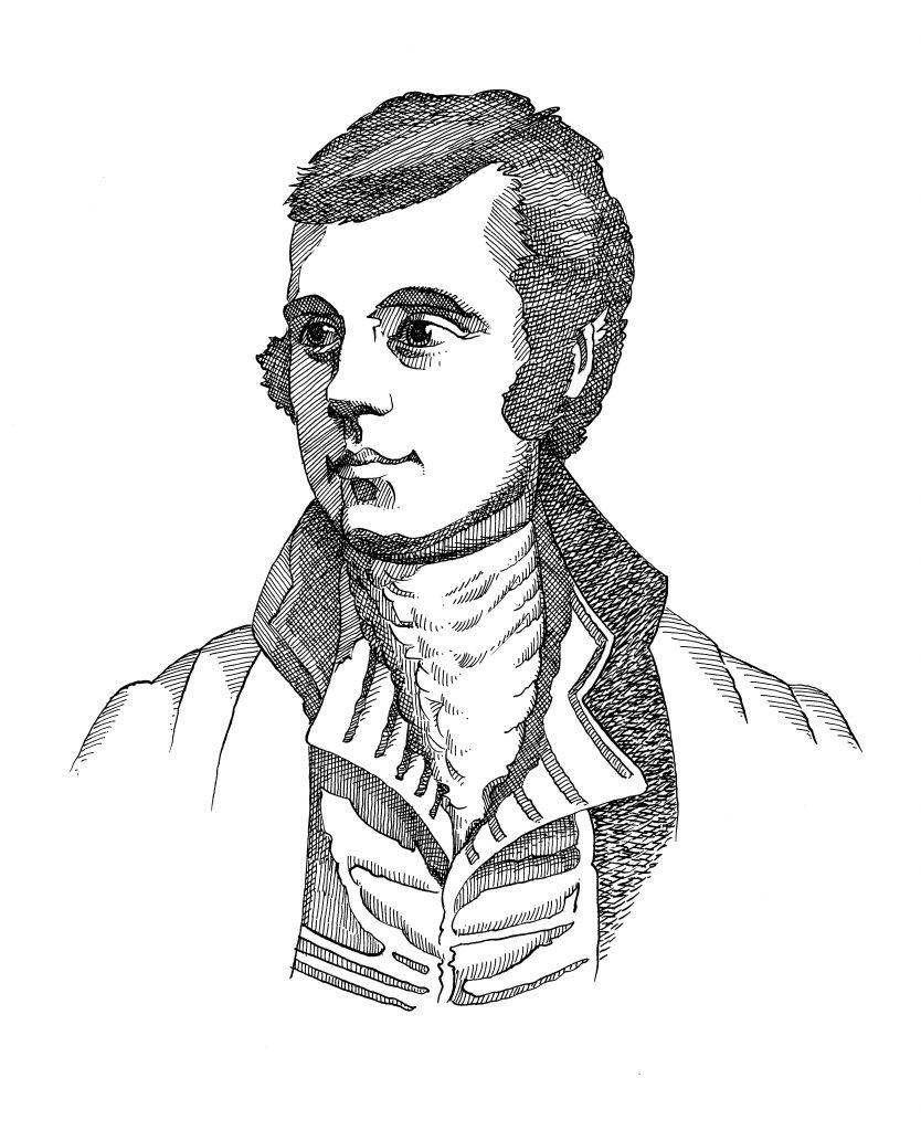 Line drawing of Robert Burns