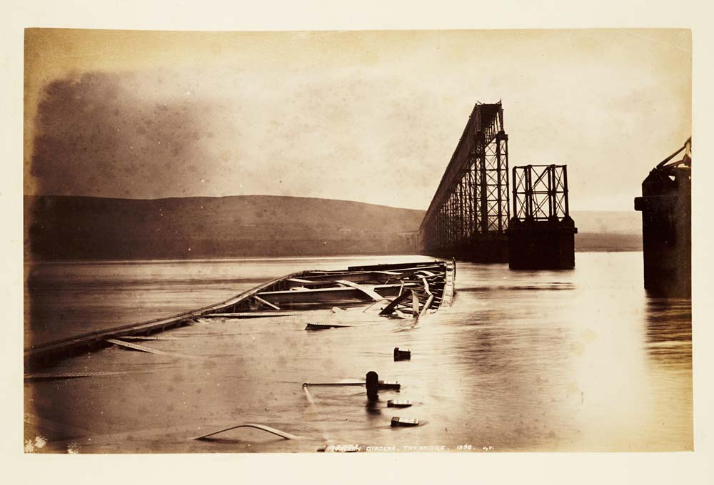 The ruins of the Tay Bridge after the Tay Bridge Disaster of 1879.