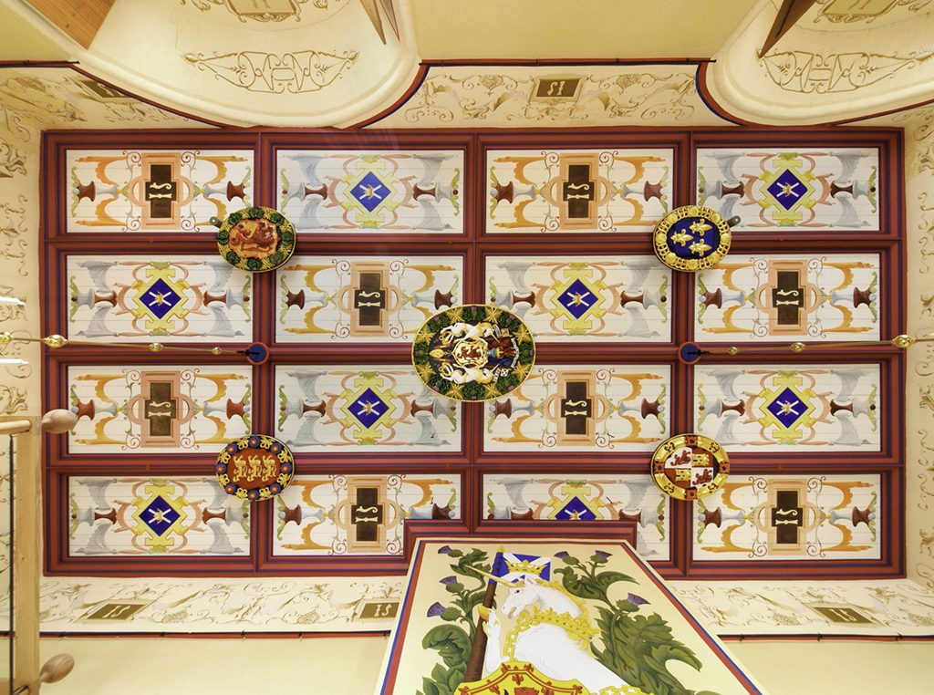 The restored ceiling of Stirling Castle's Royal Palace.