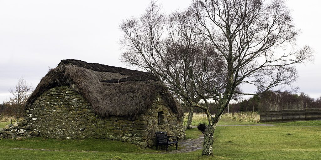 A small thatched building on a grassy area, next to a tree