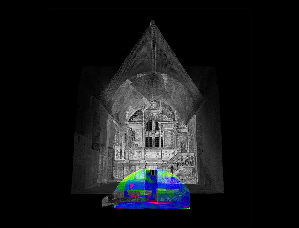 Moisture mapping detail of Skelmorlie Chapel in Largs.
