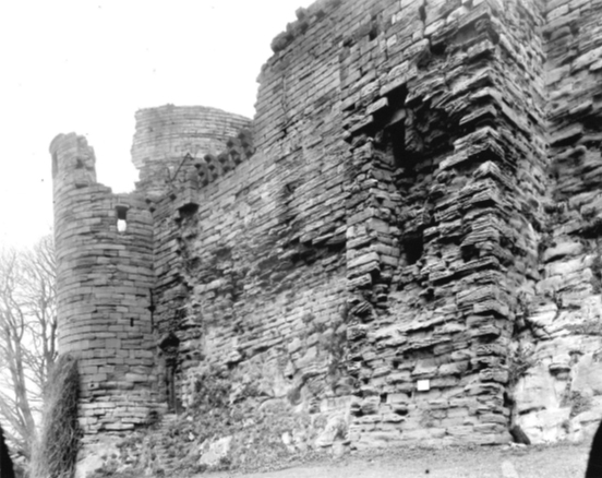 Photo believed to date from c.1899 showing Latrine tower prior to early C20 consolidation work