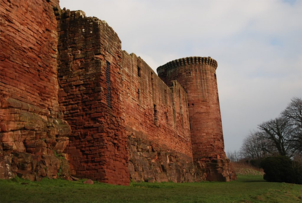 Decayed masonry of Bothwell Castle's Latrine Tower at Bothwell Castle