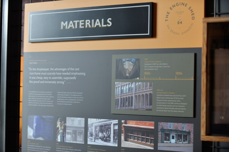 A board taken from the Talking Shops exhibition featuring shopfront materials