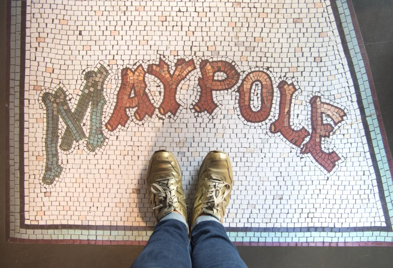 A vinyl recreation of a traditional ceramic shop floor