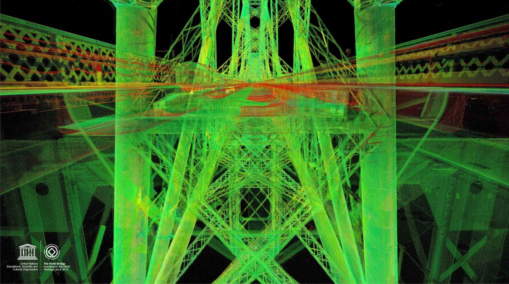 A laser scanned point cloud image of the Forth Road Bridge