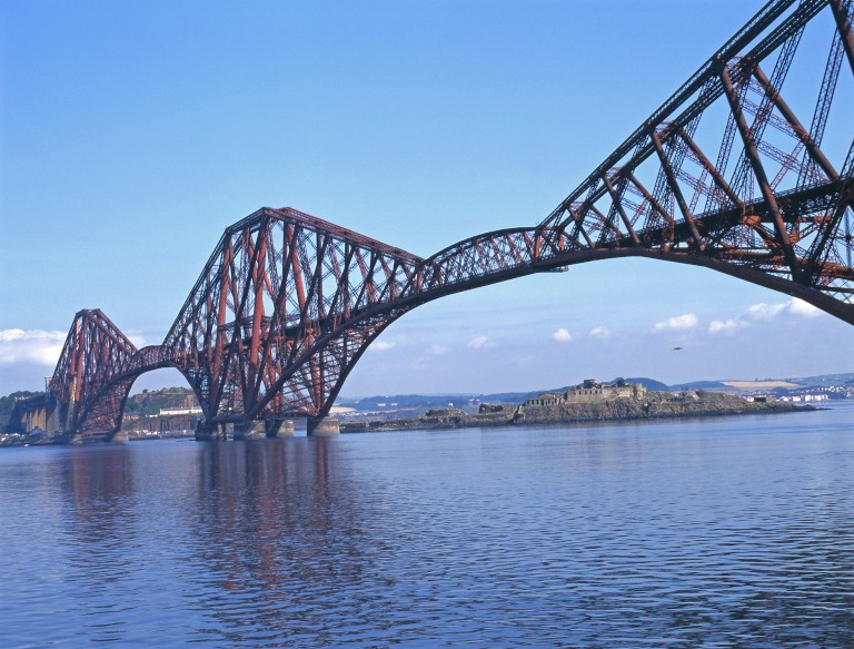 The Forth Rail Bridge and the Firth of Forth on a sunny day