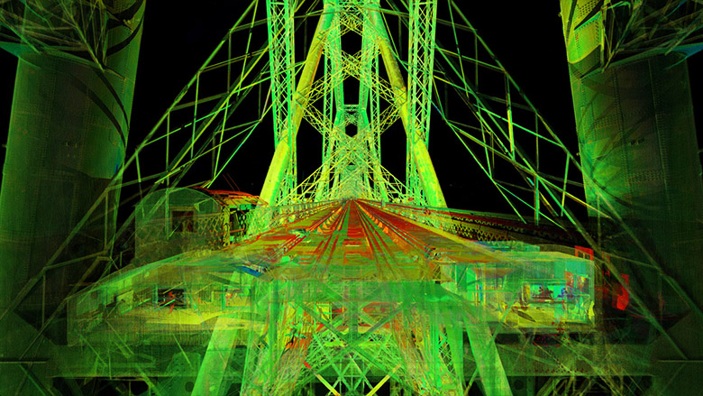 A green and red point cloud of a section of the Forth Bridge