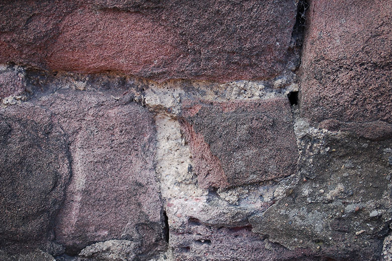 Red bricks with lime mortar in between