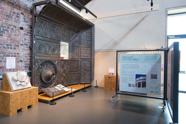 Exhibits at the Engine Shed including cast iron ceiling panels, and a piece of carved stone.