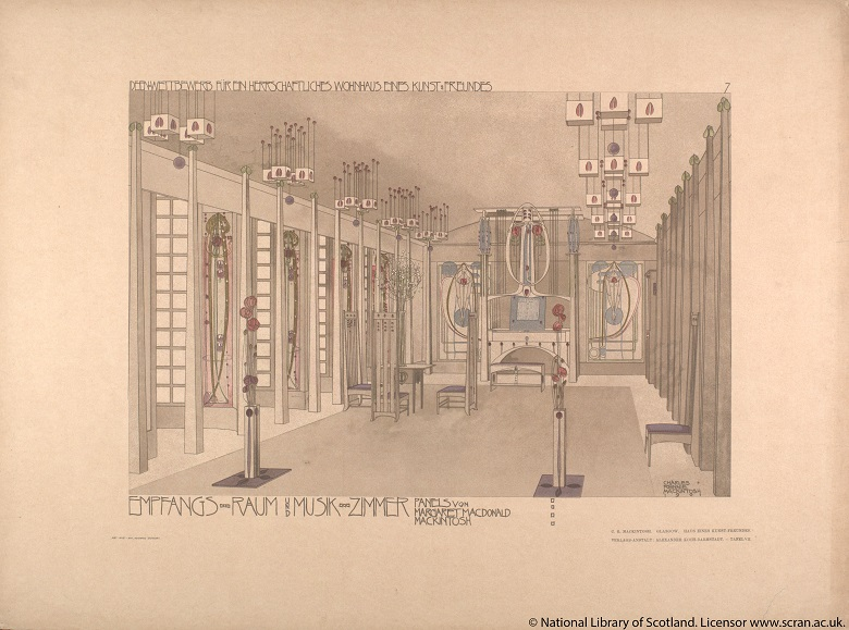 A drawing by Charles Rennie Mackkintosh of a music room