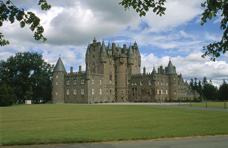 Glamis Castle on a cloudy day