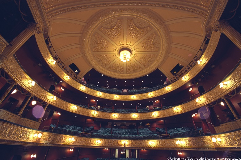 The decorative ceiling and seats of Glasgow's Theatre Royal