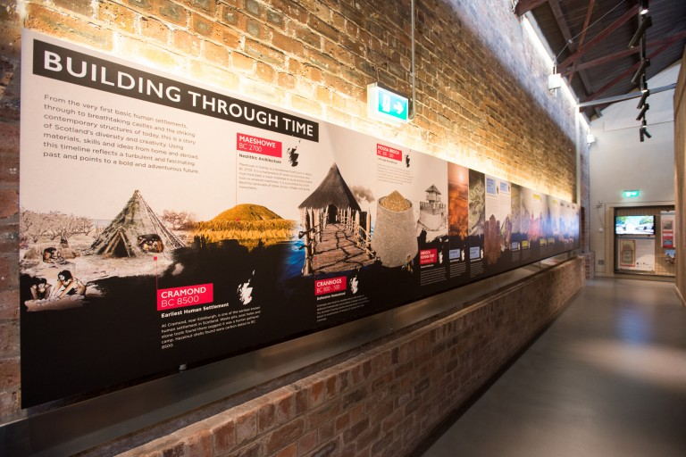 Exhibition panels at the Engine Shed about buildings through time