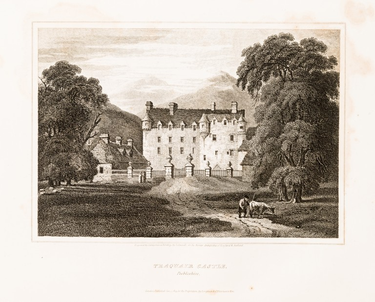 A drawing of a historic castle in the countryside