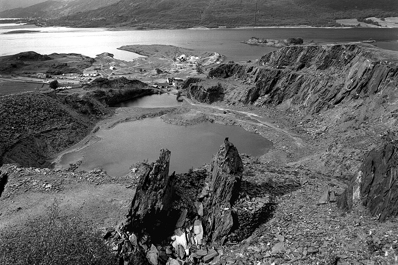 A black and white archive image of a slate quarry