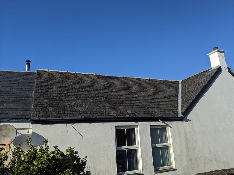 A slate covered roof
