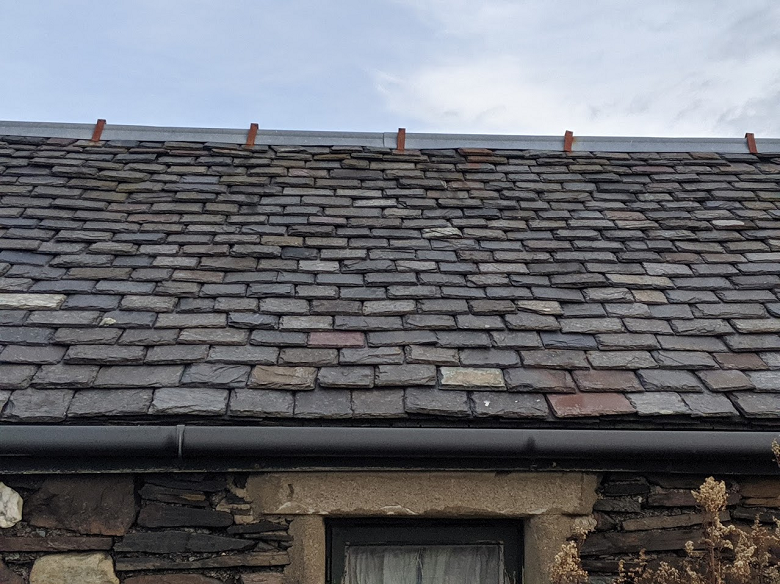 A close up look at a roof made from Scottish slate
