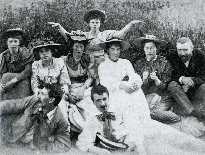 A black and white photo of a group of people
