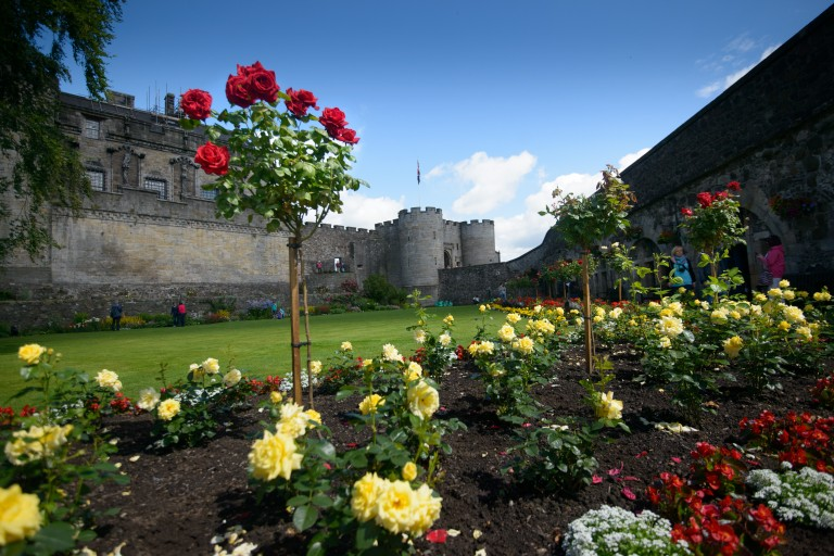 A garden at Stirling Castle, with a border filled with yellow and red roses.