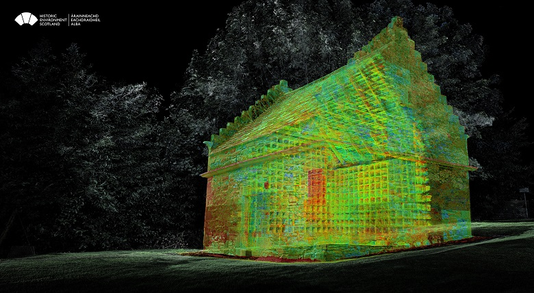 A 3D point cloud image looking through the walls of a large, square dovecote building.