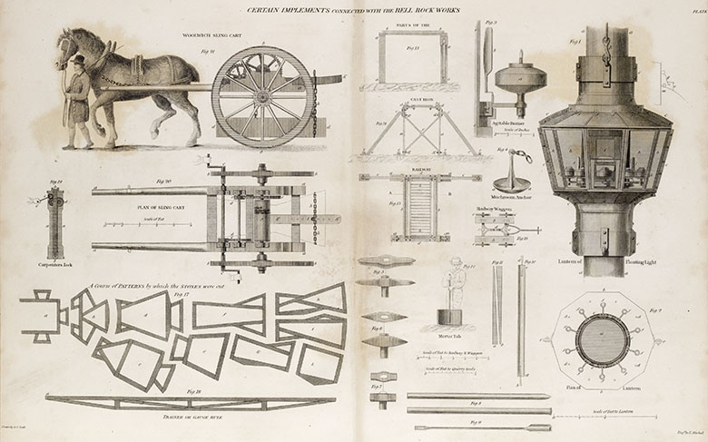 Drawings including a horse and cart and various parts of the Bell Rock lighthouse