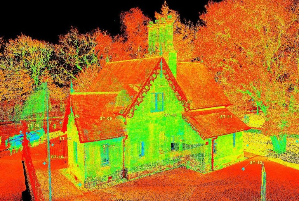 A colourful laser scan of a historic lodge