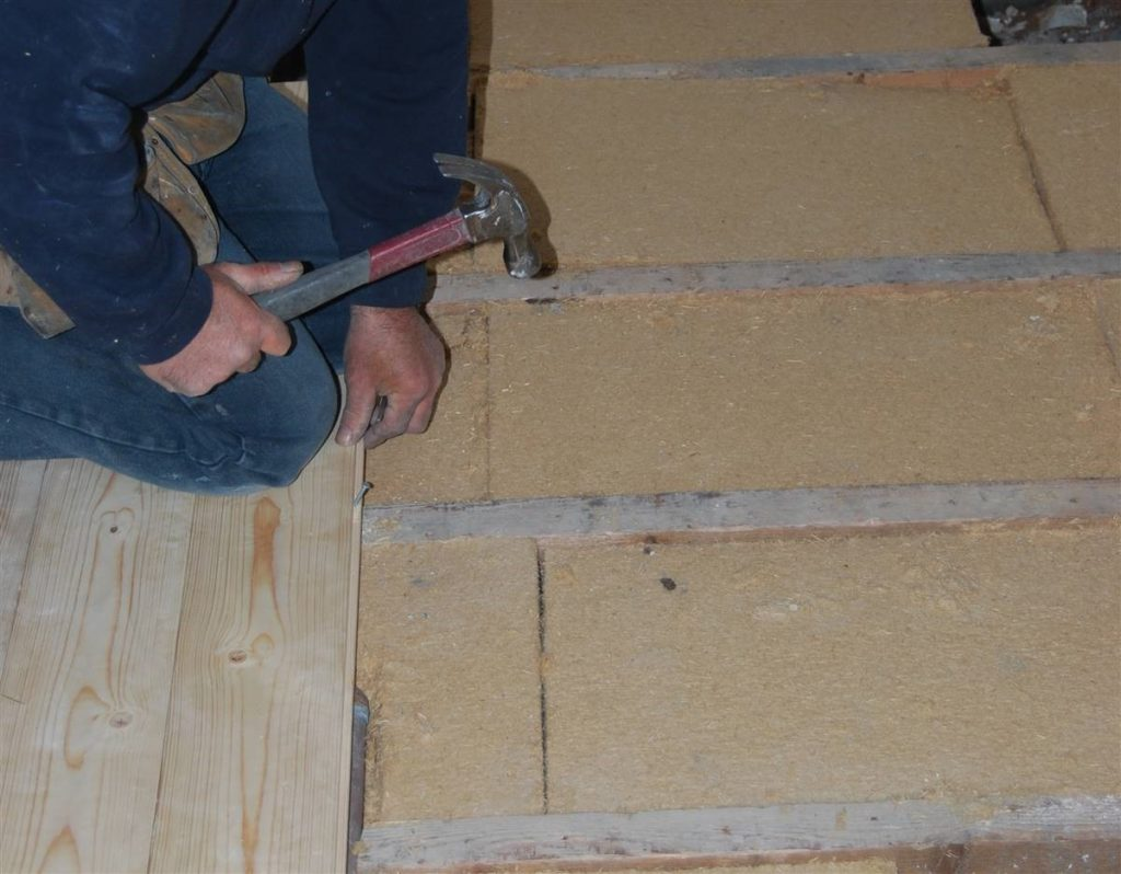 A wood floor being laid