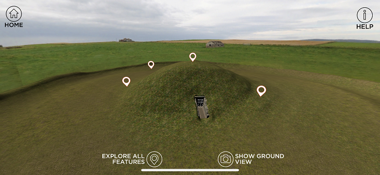A screenshot of an app of Maeshowe Chambered Cairn