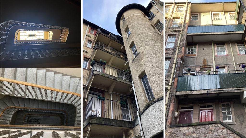 Stairwells inside Edinburgh tenements