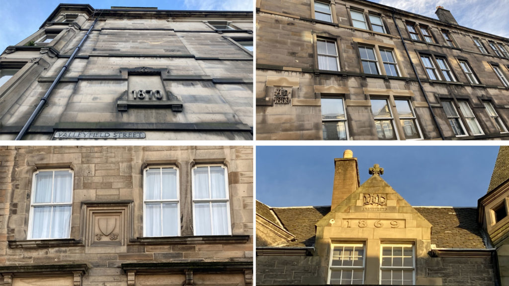 Four buildings in Edinburgh, each with different date stamps carved into the stone