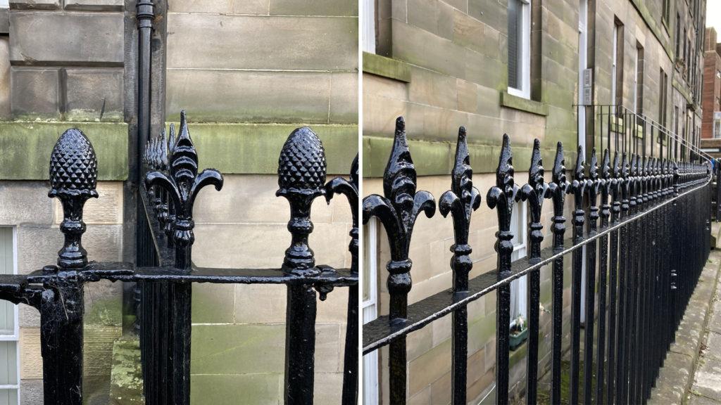 Decorative, black ironwork railings