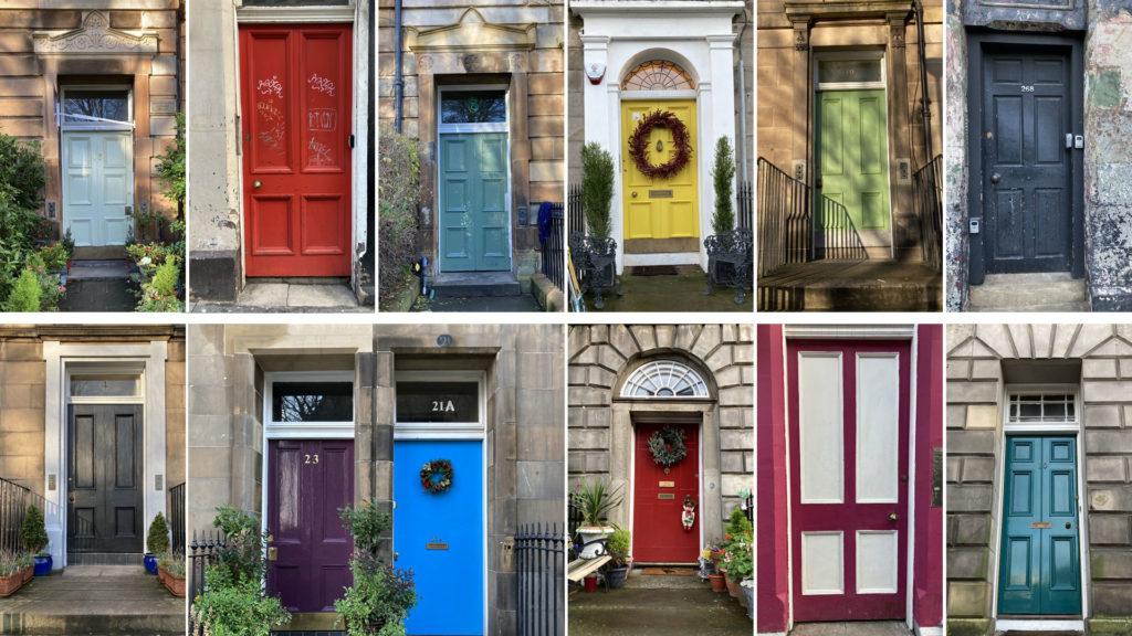 Brightly coloured tenement doors