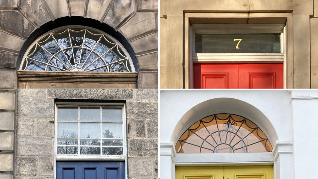 Windows above tenement doors - some square, some crescent shaped