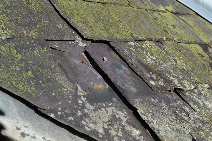 Damaged roof slates, covered with moss